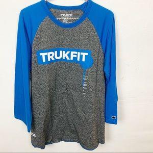Trukfit l Men's Grey Blue Baseball Tee